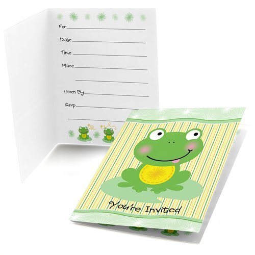 Froggy Frog - Fill-In Baby Shower or Birthday Party Invitations (8 - Baby Shower Frog