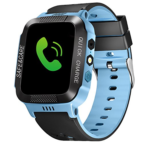 ele ELEOPTION Kids Smart Watches with GPS Tracker Phone Call for Boys Girls Digital Wrist Watch, Sport Smart Watch, Touch Screen Cellphone Camera Anti-Lost SOS Learning Toy for Kids Gift (Blue&Black)