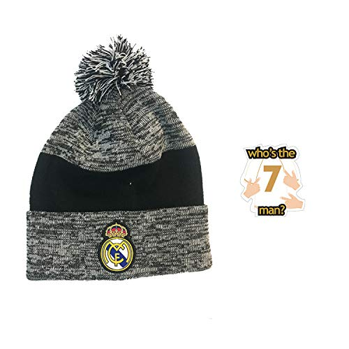 icon sports Real Madrid fc Beanie 2019 hat Official Licensed Authentic Merchandise Warm Winter Knit hat 2-Pieces rm006 (Grey Black pom)