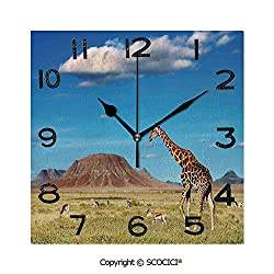 SCOCICI 8 Inch Square Face Silent Wall Clock African Savanna with Giraffe and Grazing Antelopes Volcano Summer Sky Picture Unique Contemporary Home and Office Decor