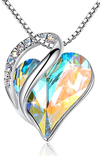 y Miss New York] Infinity Love White Opal Color Heart Pendant Necklace, Silver-Tone, 17