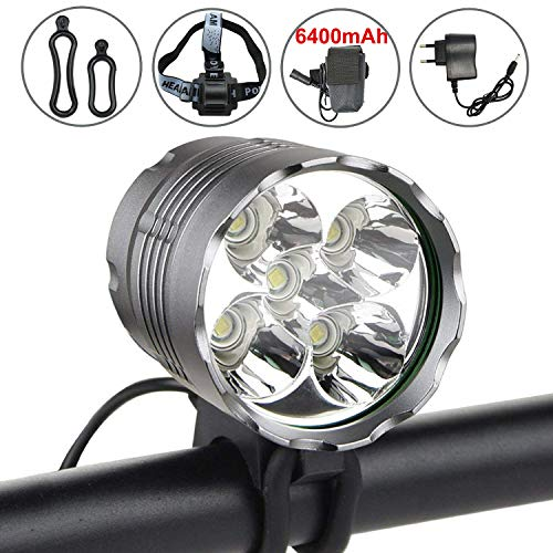 - WasaFire LED Bike Light, 6000 Lumens 5 LED Bicycle Light,Waterproof Mountain Bike Front Light with 6400mAh Rechargeable Battery Pack, 3 Modes Bicycle Lights Front Headlamp for Cycling Safety