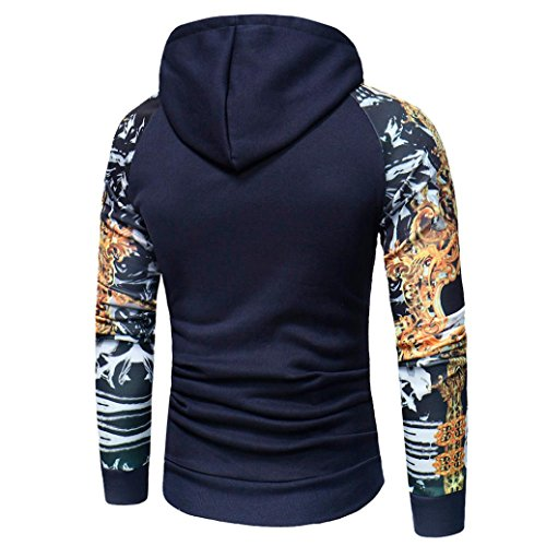 Hoshell Men's Adult Pullover Hooded Sweatshirt Camouflage Print Tops Outwear