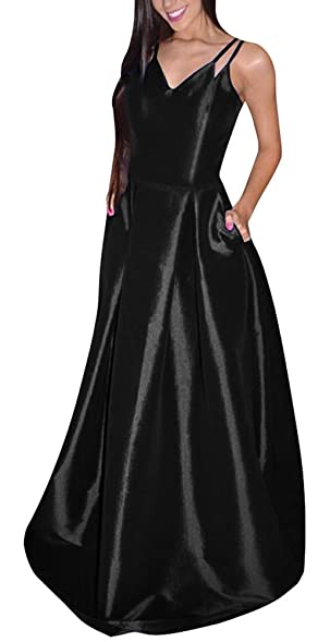 Yangprom Elegant Long Spaghetti Straps Satin A-line Prom Dress with Pockets (2)