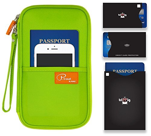 P.travel Passport wallet Oxford Green with RFID Stop