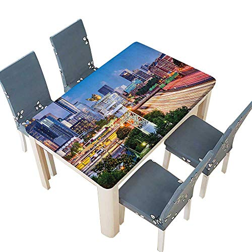 PINAFORE Table in Washable Polyeste Atlanta Georgia Urban Busy Town with Skyscrapers City Yellow Banquet Wedding Party Restaurant Tablecloth W69 x L108 INCH (Elastic Edge) ()