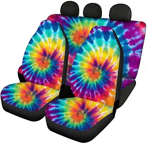 FKELYI Classic Car Seat Covers Accessories Rainbow Tie-Dye Decor Saddle Blanket for Seat Protection,Universal Auto Interior Seat Cushions Pad,All 3PCS