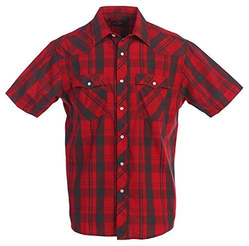 Gioberti Men's Plaid Western Shirt, Red/Black Checkered, 4X (Checkered Western Shirt)