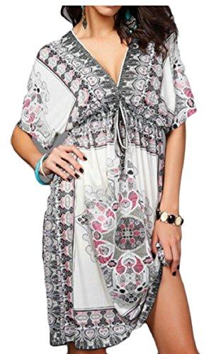 Jaycargogo Dentelle Femmes Manches Courtes Col V Jusqu'à Impression De Taille Plus Robes Mini Blanc