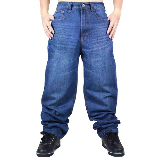 Zero Quality Mens Hip Hop Baggy Jeans Denim with Exaggerated Embroidery j9085-indigo-32