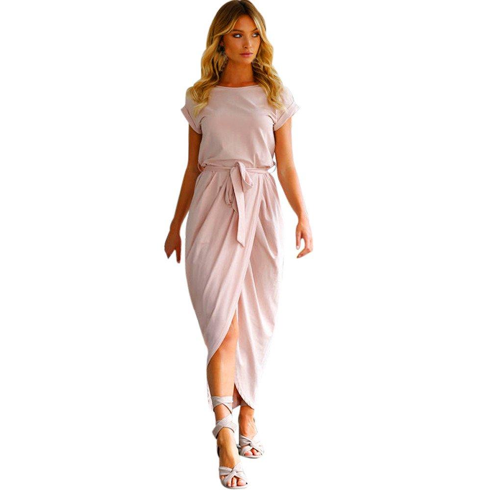 PERFURM Women Boho Long Maxi Dress Evening Party Beach Dresses Sundress Valentine's Day Present Gift Pink
