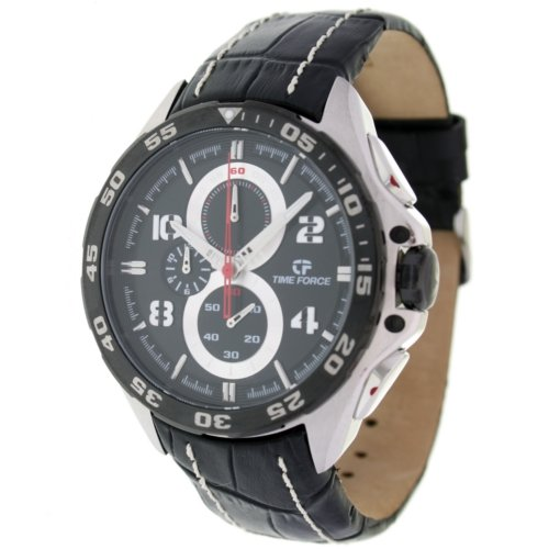 Timeforce TF3328M01 47mm Stainless Steel Case Black Leather Mineral Men's Watch