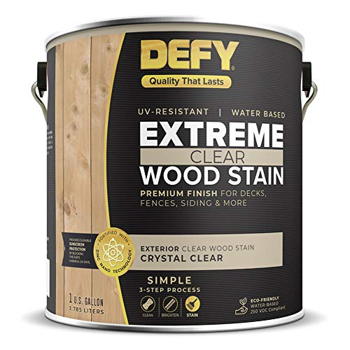 DEFY Extreme 1 Gallon Exterior Wood Stain, Crystal Clear (Best Wood Stain And Sealer)