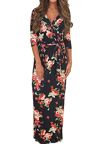 3/4 Sleeve V-neck Knot (Voguegirl Womens Summer 3/4 Sleeve V Neck Floral Print Faux Wrap Maxi Long Dresses with Belt (M, Black))