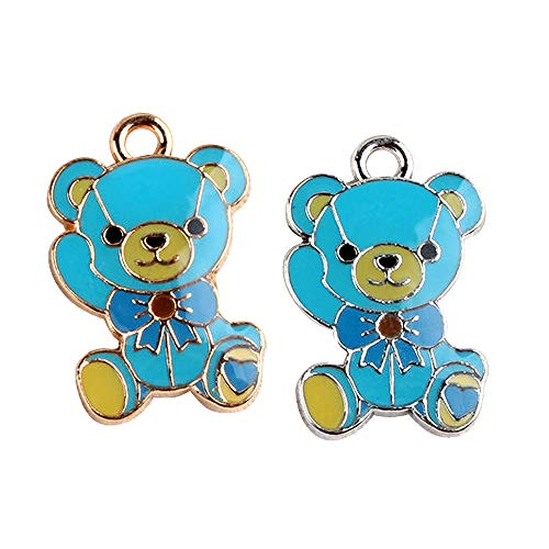 M270-E 8pcs New Cute Blue Teddy Bear Bracelet Charms Pendants Wholesale