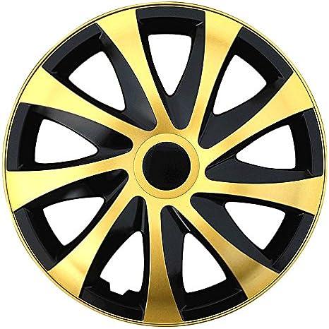 Autoteppich Stylers Größe Wählbar 15 Zoll Radkappen Radzierblenden Draco Bicolor Schwarz Gold Passend Für Fast Alle Fahrzeugtypen Universal Auto