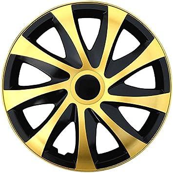 Gr/ö/ße w/ählbar passend f/ür fast alle Fahrzeugtypen Schwarz-Gold universal 16 Zoll Radkappen // Radzierblenden DRACO Bicolor