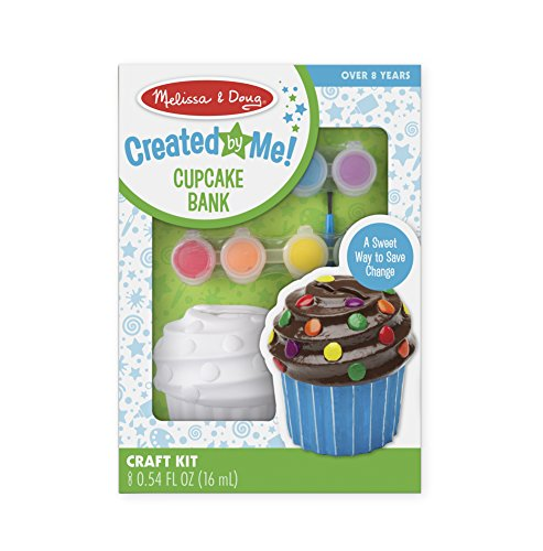 Melissa & Doug Decorate-Your-Own Cupcake Bank Craft Kit With 8 Pots of Paint and Paintbrush -