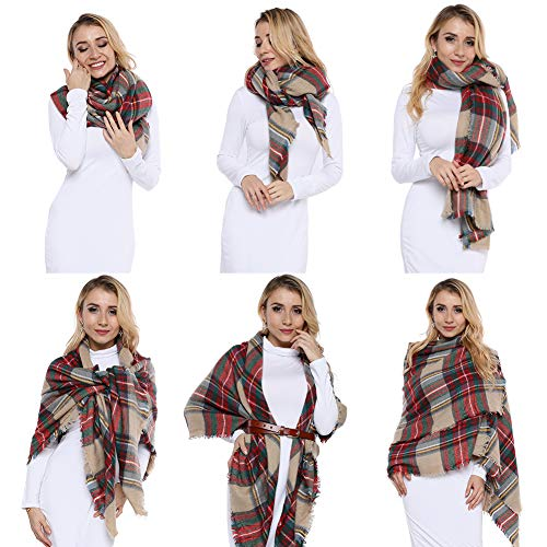 Dora Bridal Lady Women Blanket Oversized Tartan Scarf Wrap Shawl Plaid Cozy Checked Pashmina (One Size, Blush)