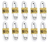 Samsung USB Data Cable for Galaxy S3/S4/Note 2 & Other Smartphones, 10 Pack - Non-Retail Packaging - White