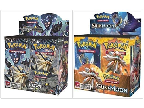 Pokemon Trading Card Game Sun & Moon Ultra Prism Booster Box and Sun & Moon Base Set Booster Box Bundle, 1 of Each by FED USA Gaming