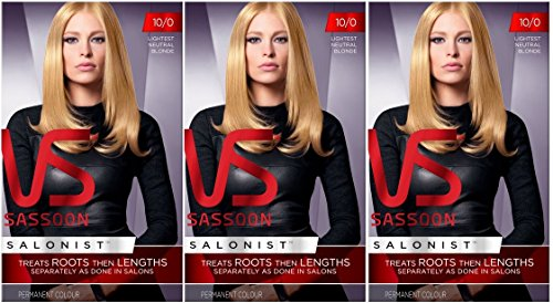 3 x VS Vidal Sassoon Salonist Permanent Hair Colour Dye (10/0 Lightest...