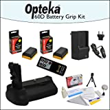 Battery Pack Grip BG-E14 BGE14 / Vertical Shutter Release with 2 Opteka LP-E6 LPE6 Batteries (4800 mAh Total) with Rapid Charger, Opteka RC4 Wireless Remote, Cleaning Kit, & Mini Tripod for Canon EOS 70D DSLR Digital Camera