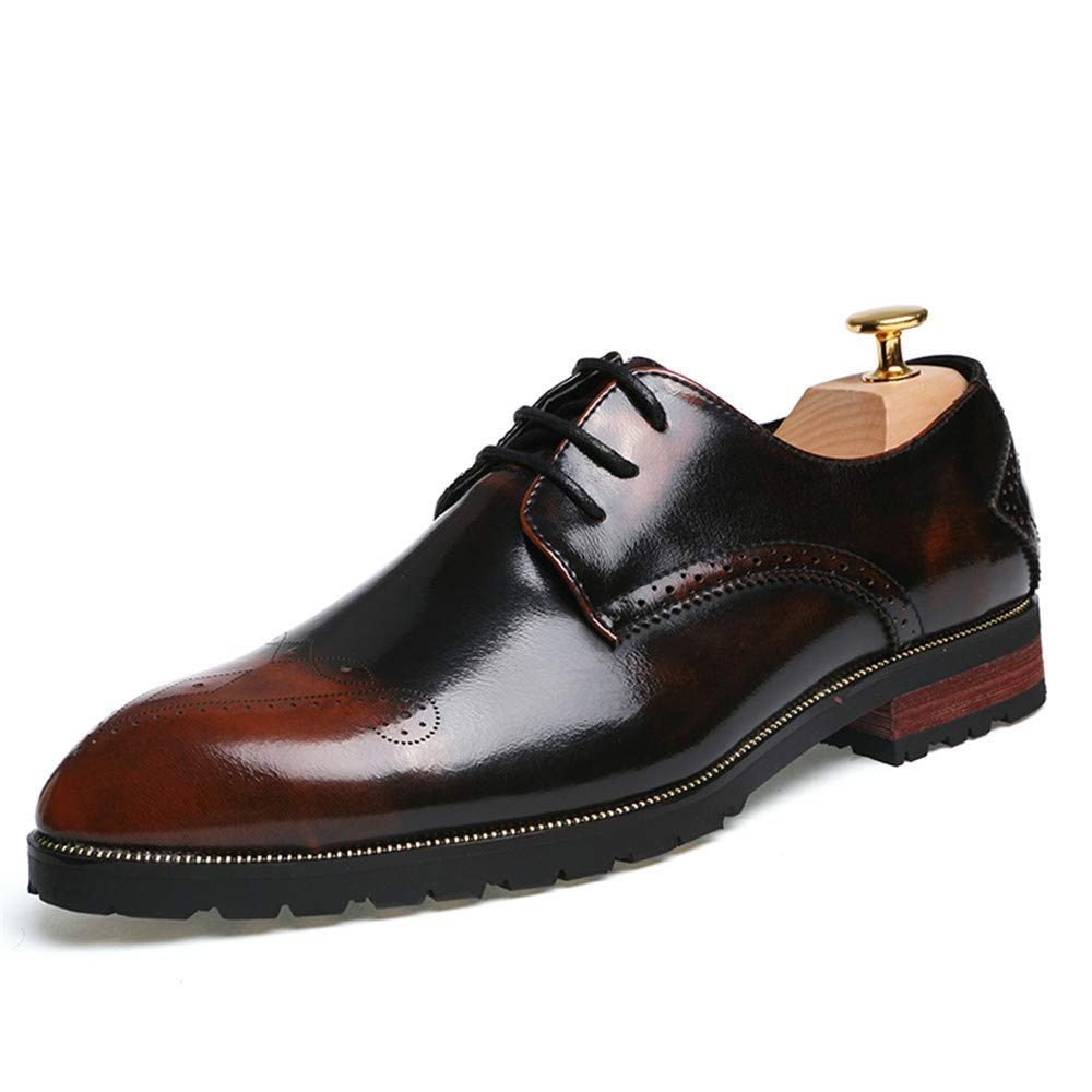 Men's Business Oxford Casual Brogue Personality Fashion Trend Pointed Carved Antique Patent Leather Brogue Casual Shoes 9 D(M) US|Red B07GGP4XZV 27ba3f