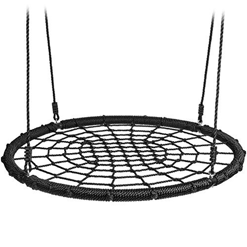 40 Inch Net Spider Web Round Swing. Saucer Safety Rating Over 600 Pounds. Heavy Duty Adjustable 6Ft PE Hanging Ropes. Great for Playground, Tree, Outdoor Use. Includes Durable Hanging Kit.