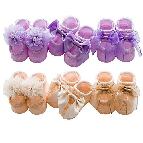 MOM EASY Baby Socks Cotton Butterfly Knot Floor Socks 6 Pairs (M ( 1-3 years), Purple & Khaki)