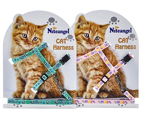 Niteangel Adjustable Cat Harness Nylon Reflective Strip, 2 Pack (Pink & Green)