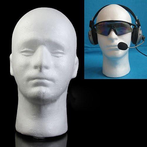 White GlobalDeal Male Mannequin Styrofoam Foam Manikin Head Model Wig Glasses Hat Display Stand