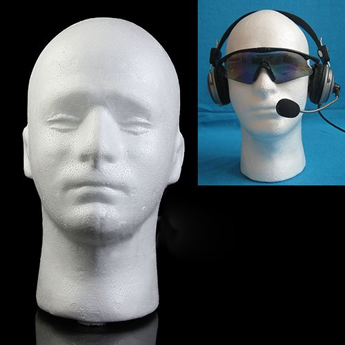 Connoworld Male Styrofoam Foam Head Model Professional Bald Manikin Mannequin Head Hat Wig Hair Jewelry Headset Glasses Display Stand Tool White by Connoworld (Image #2)