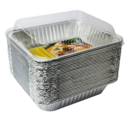 eHomeA2Z (30 Pack) Heavy Duty Half Size Deep Aluminum Foil Steam Table Pans With Dome Lids for Cooking, Roasting, Broiling, Baking - 9