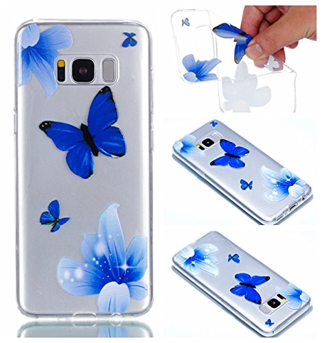 (Galaxy S8+ Case, For [S8 Plus], MerKuyom [Clear Transparent] [Slim-Fit] Flexible Gel Soft TPU Case Skin Cover For Samsung Galaxy S8 Plus / S8+, W/ Stylus (Blue Butterfly Flower))