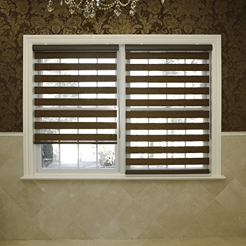 - Best Home Fashion Premium Duo Wood Look Roller Window Shade - Brown - 28