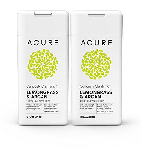 Biodegradable Shampoo Conditioner (Acure Curiously Clarifying Lemongrass Shampoo & Conditioner, 12 Fluid Ounces)