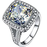 Sterling Silver 8CT Cushion Engagement Ring 925 NSCD Simulated Diamond Big Stone Ring PT950 Stamped