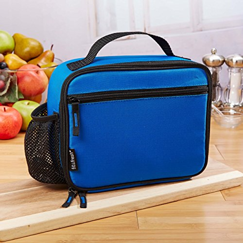 Lunch Box Drink (Fit & Fresh Insulated Soft-Sided Lunch Box with Drink Pocket, for Kids and Adults, Lightweight, Leak Resistant, BPA Free, Blue)