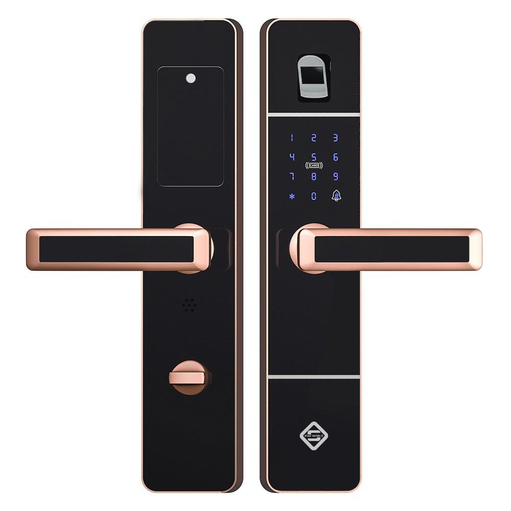 PINEWORLD Q303 Wireless Intelligent Lock Smart Fingerprint Door Lock with RFID and Mechanical Key , Handle Direction Reversible by PINEWORLD (Image #1)