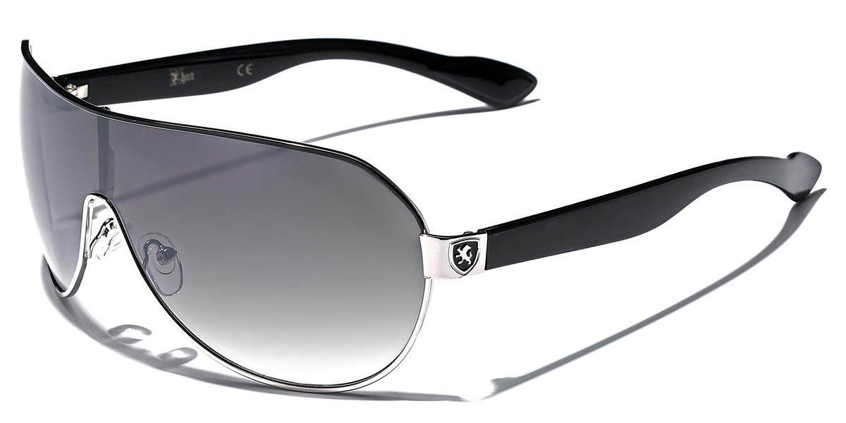 Khan Fashion Men's Square Aviator Style Sunglasses Silver Black Sport Shades by Khan
