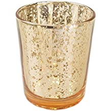 "Just Artifacts (Bulk) Mercury Glass Votive Candle Holder 2.75""H (100pcs, Speckled Gold) - Mercury Glass Votive Tealight Candle Holders for Weddings, Parties and Home Décor"