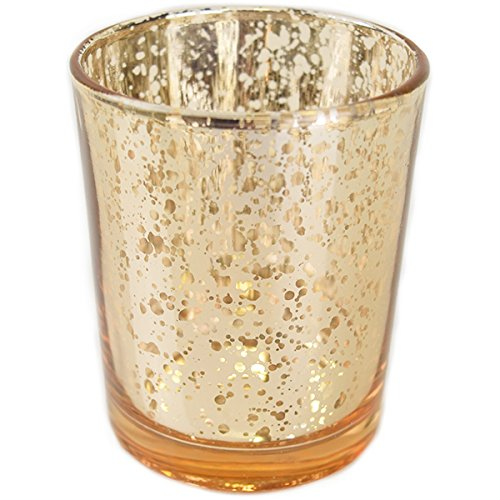 "Just Artifacts (Bulk Mercury Glass Votive Candle Holder 2.75"" H (100pcs, Speckled Gold) - Mercury Glass Votive Tealight Candle Holders for Weddings, Parties and Home Décor"