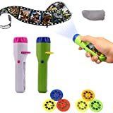 2 Pcs Slide Projector Torch Projection, Amycute Dinosaur & Unicorn Torches Light Toy Slide Flashlight Lamp Educational Learning Bedtime Night Light for Child, Kids, Infant, Toddler