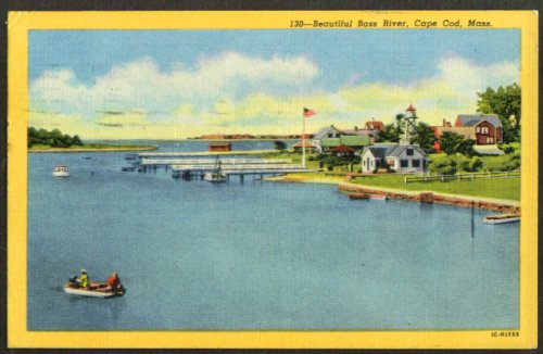 Piers water tower along Bass River MA postcard 1953 ()