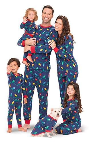 PajamaGram Christmas Lights Matching Family Pajama Set, Blue, Women MED (8-10)