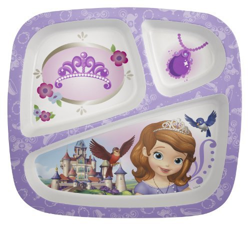 Zak (3 Pack) Disney Princess Sofia Character 3-Section Divided Plastic Kids Party Plates