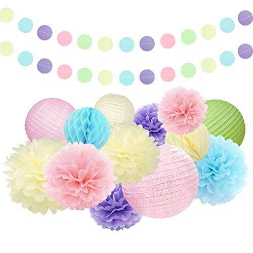 Nicrolandee Set Of 15 Unicron Party Mixed Tissue Paper Pom Poms