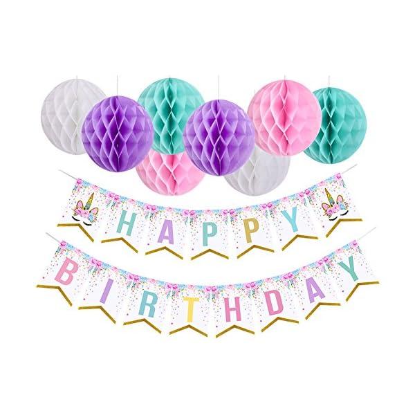Pancarta de cumpleaños con pompones de unicornio con temática de unicornio para decoración de fiesta para niñas, cumpleaños, fiestas