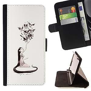 Momo Phone Case / Flip Funda de Cuero Case Cover - Naturaleza del amor de Arte de chicas Aves de Long Hair Art Dibujo - HTC DESIRE 816